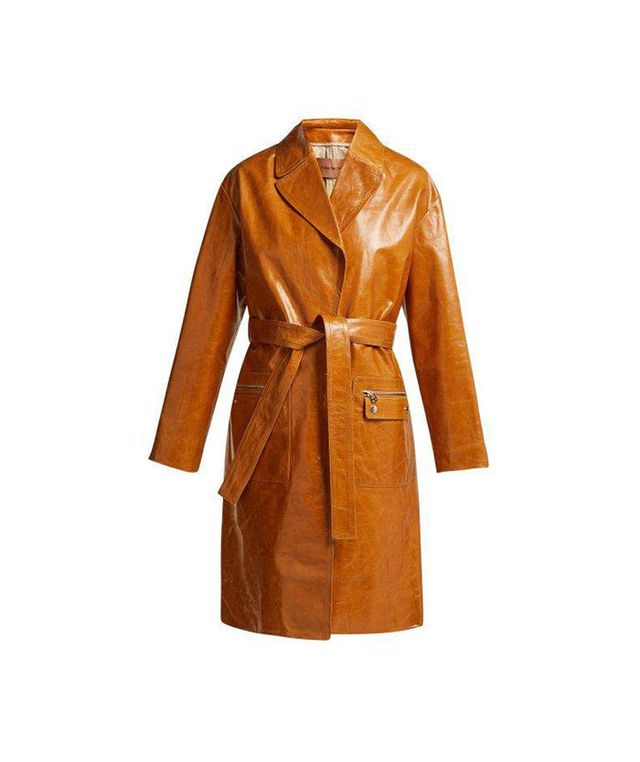 - Belted Patent Leather Coat - Womens - Brown