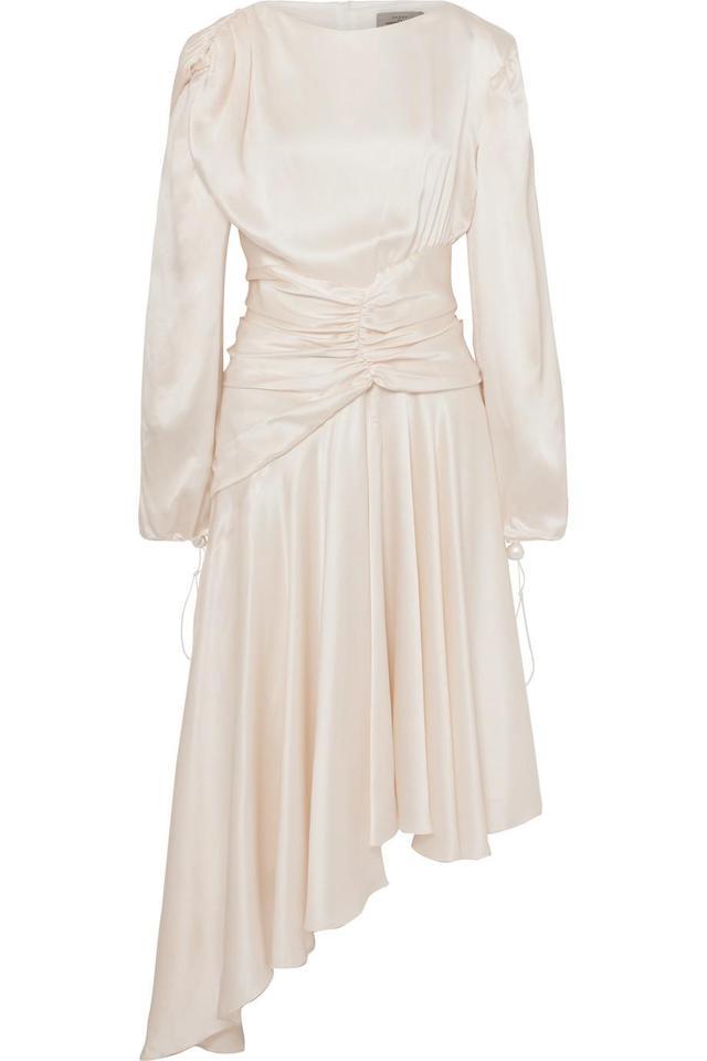 Amber Ruched Silk-satin Midi Dress