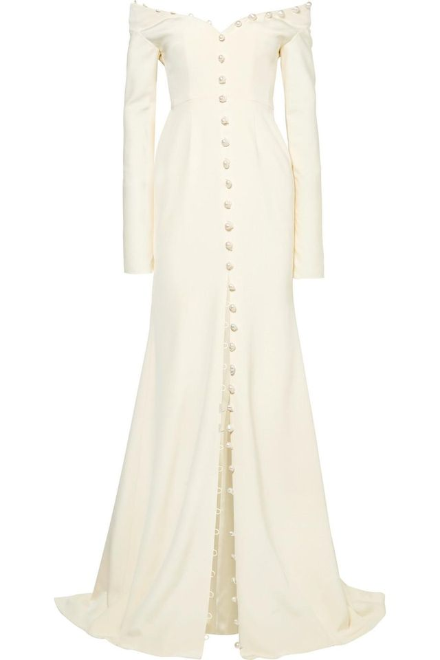 Off-the-shoulder Pearl-embellished Silk-crepe Gown