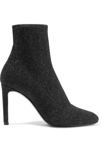Natalie Glittered Stretch-Knit Sock Boots