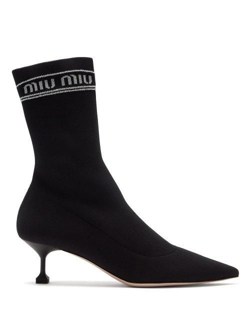 Logo Intarsia Knit Sock Ankle Boots in Black
