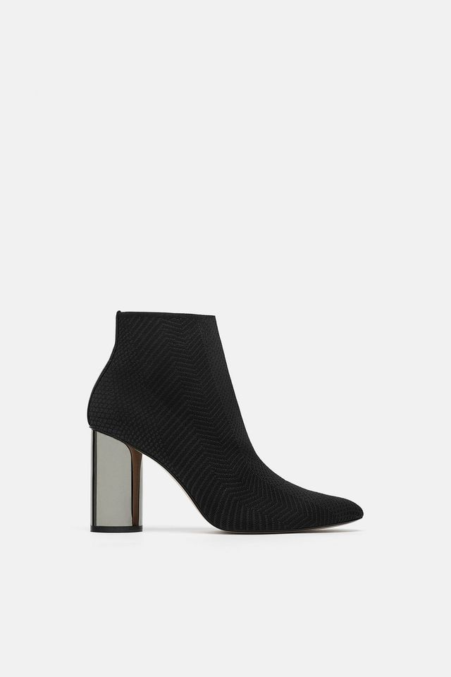 Zara Fabric Ankle Boots With Metallic Heel