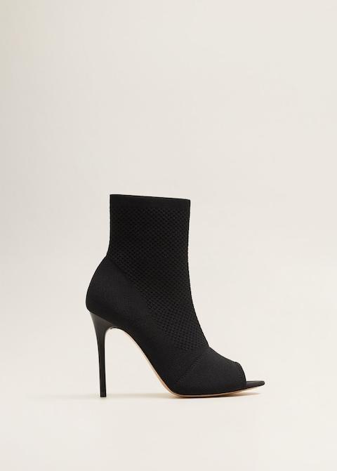Mango Peep toe Sock Boots