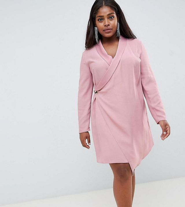 Mini Tux Dress With Long Sleeves