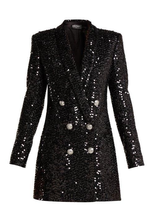 Double Breasted Sequined Blazer Dress