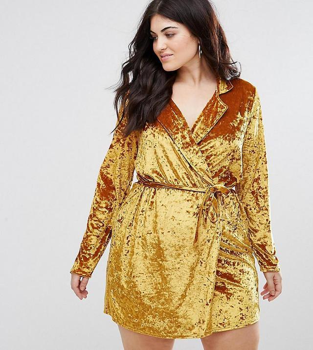 Crushed Velour Wrap Blazer Dress
