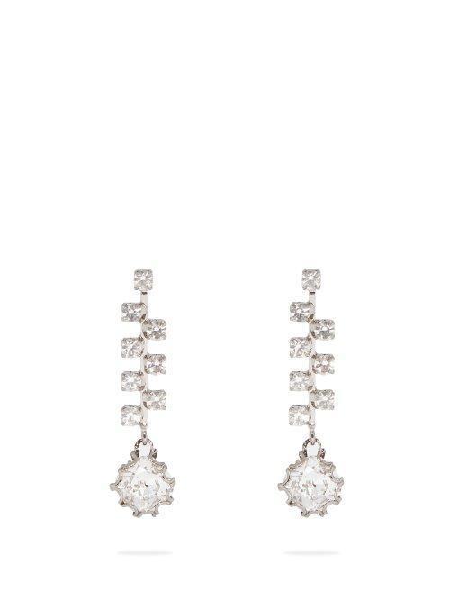 - Crystal Drop Earrings - Womens - Silver