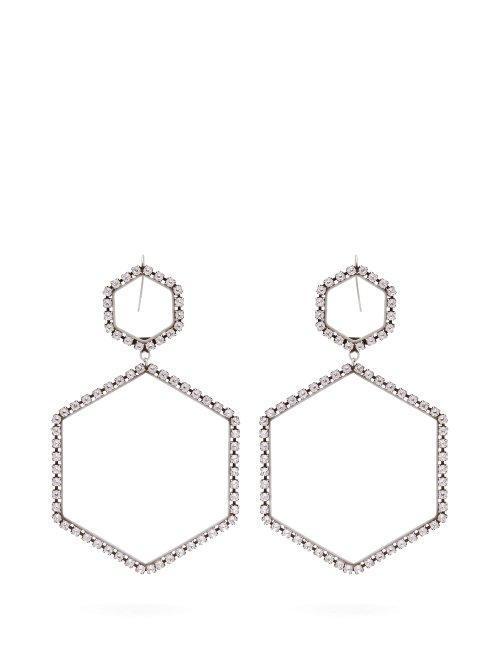 Here It Is Crystal Hexagon Drop Earrings