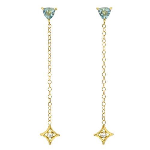 Jordan Alexander Diamond & Aquamarine Drop Earrings