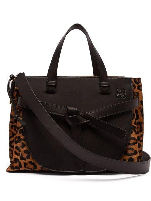 Gate Leopard Print Leather Tote Bag