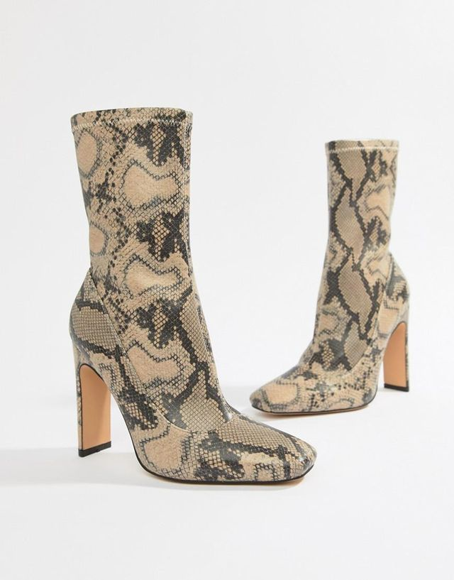 heeled ankle boots in snake print