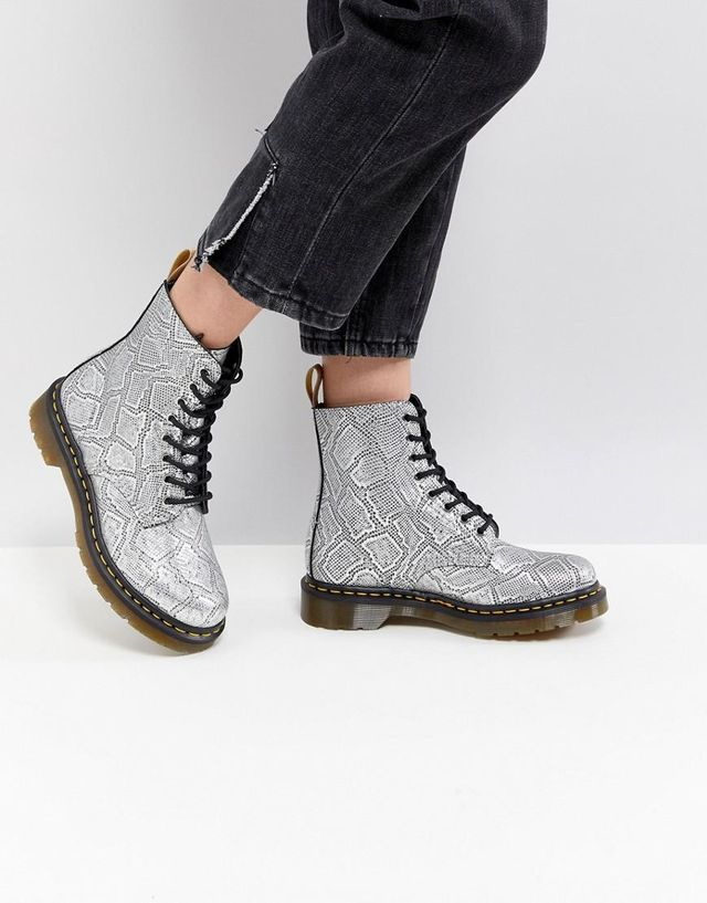 Vegan Silver Snake Lace up Boots
