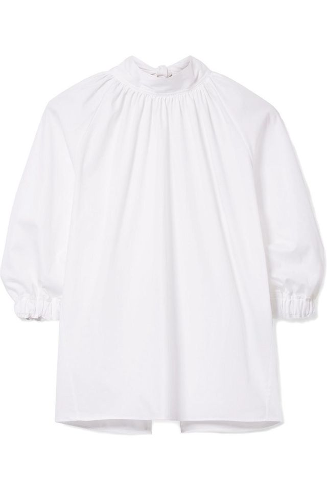Tie-back Pleated Cotton-poplin Blouse