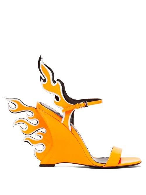 - Flame Patent Leather Sandals - Womens - Orange