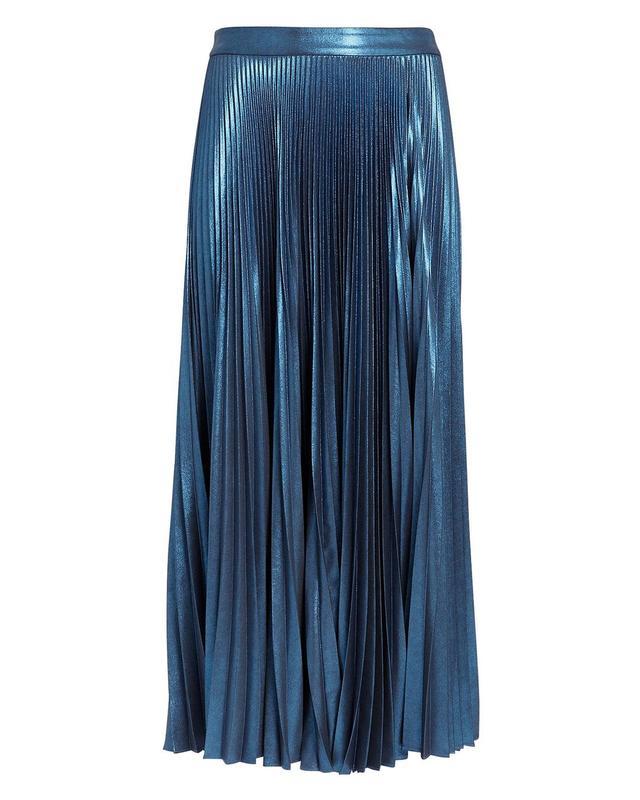 A.L.C. Bobby Blue Metallic Pleated Skirt Blue-Drk Zero