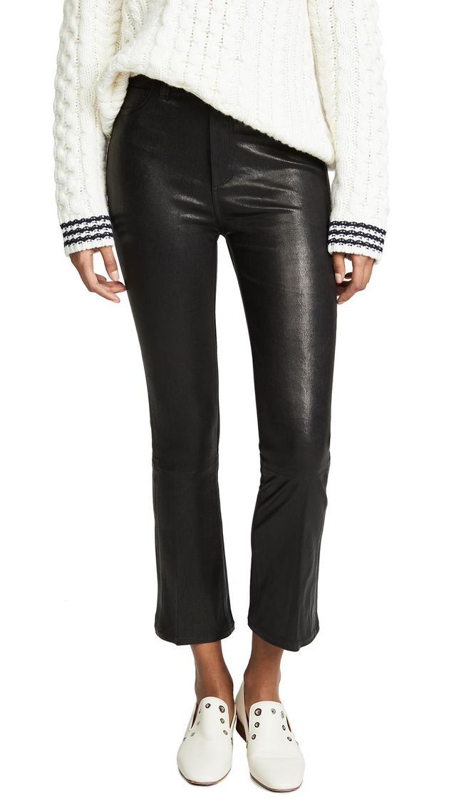 The Cropped Bootcut Leather Pants