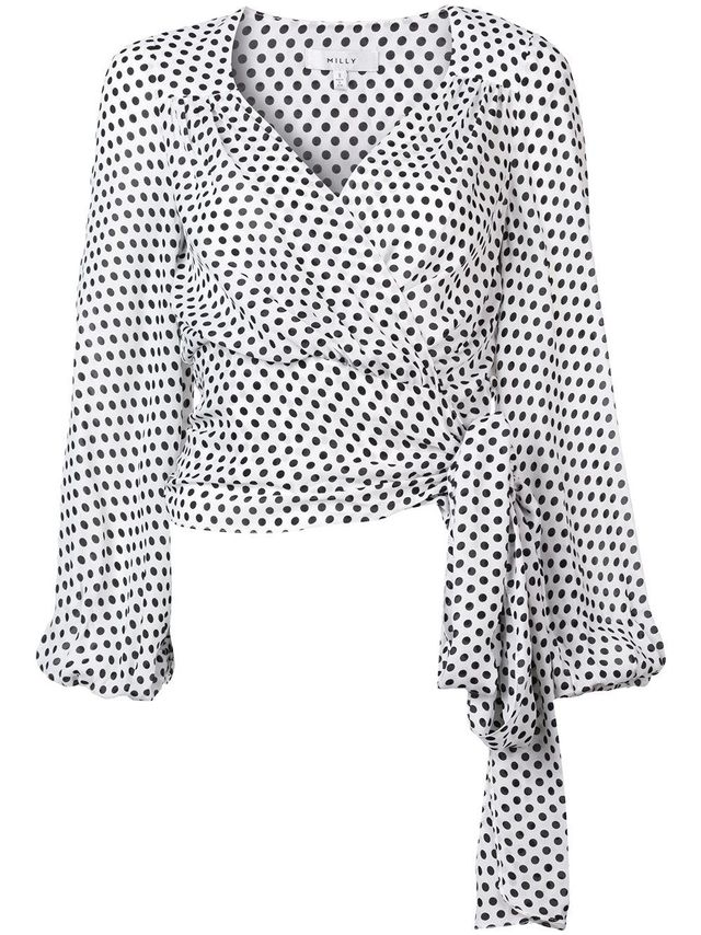 polka dot wrap front blouse