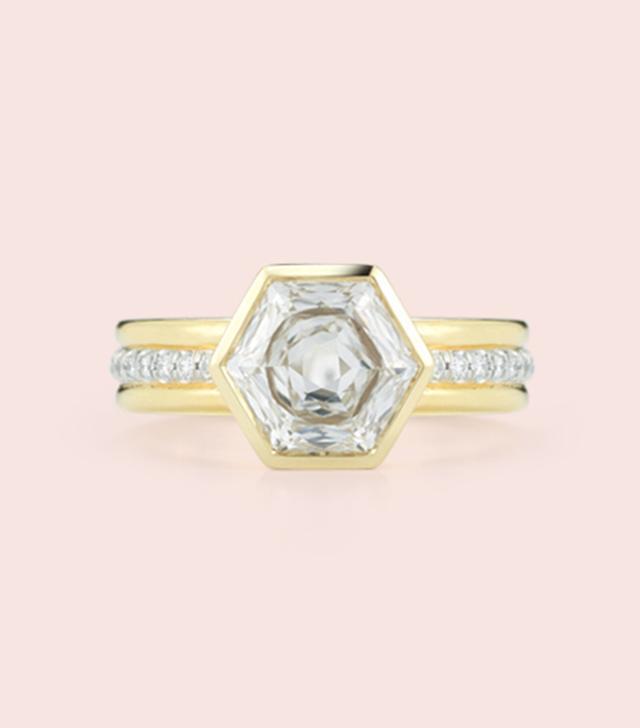 Jemma Wynne Bespoke Hexagon Diamond Engagement Ring