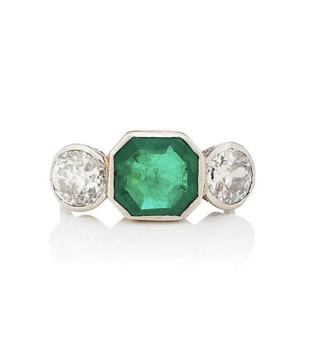 Women's Emerald & White Diamond Art Deco Ring