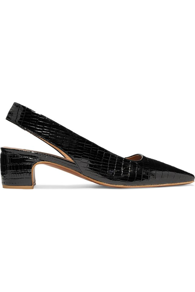 Danielle Lizard-Effect Patent-Leather Slingback Pumps