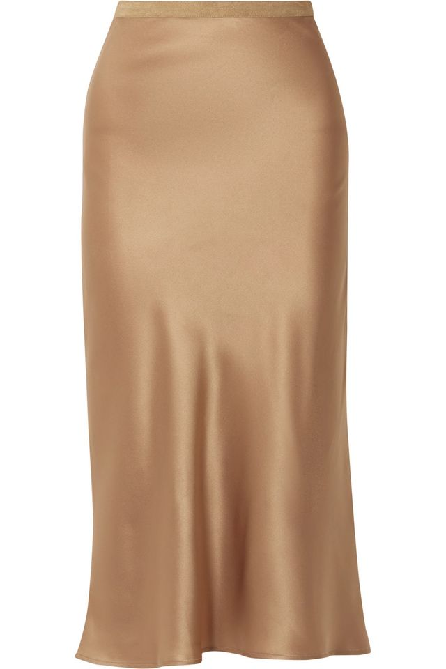 Toast Silk Midi Skirt
