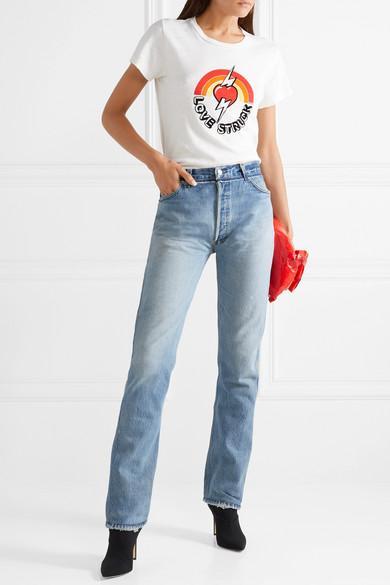 Levi's Distressed High-rise Straight-leg Jeans