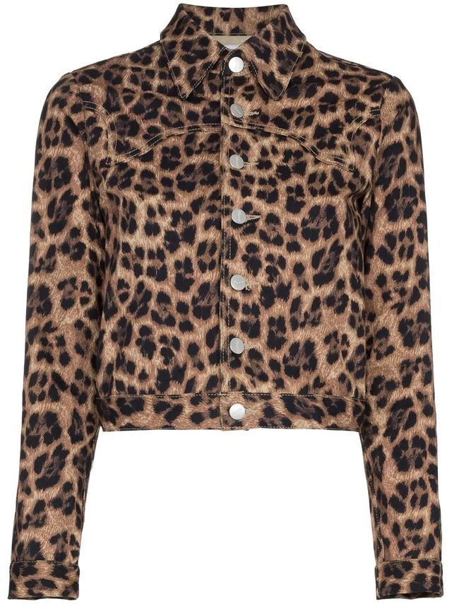 Lex leopard print cropped cotton blend jacket