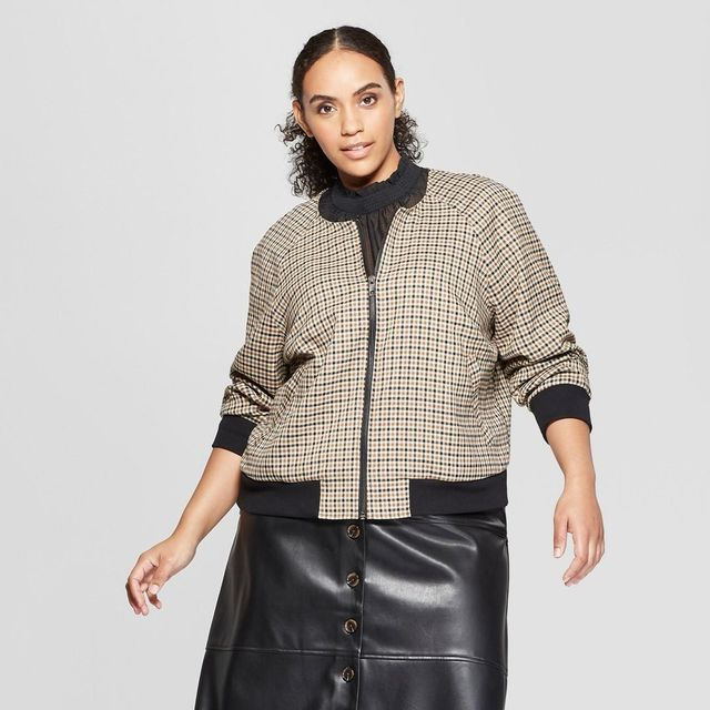 Plus Size Plaid Bomber Jacket