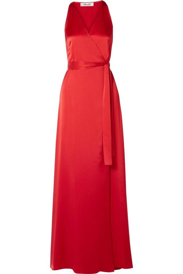 Silk-satin Wrap Maxi Dress