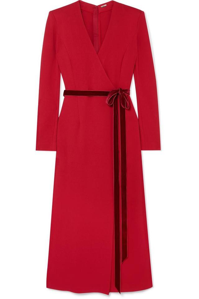 Wrap-effect Velvet-trimmed Crepe Midi Dress