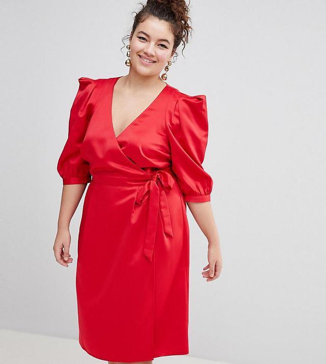 ASOS DESIGN Curve wrap dress with tie detail
