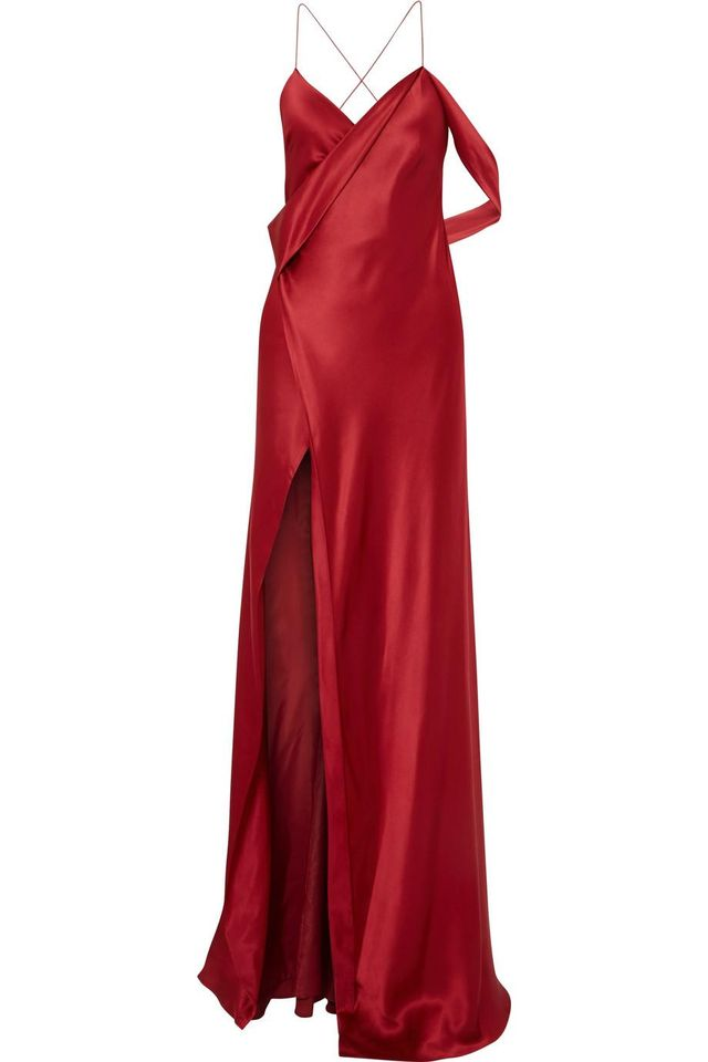 Draped Silk-charmeuse Gown