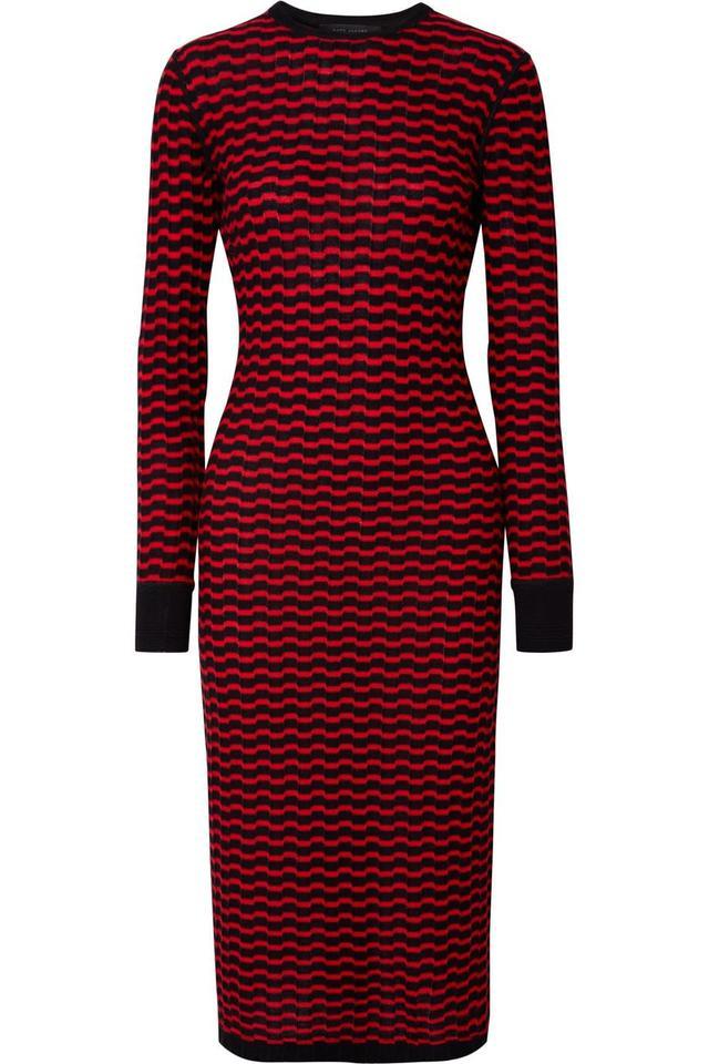 Striped Merino Wool Midi Dress