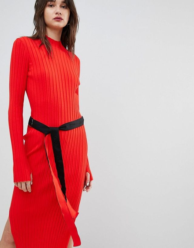 ribbed knit dress with logo belt