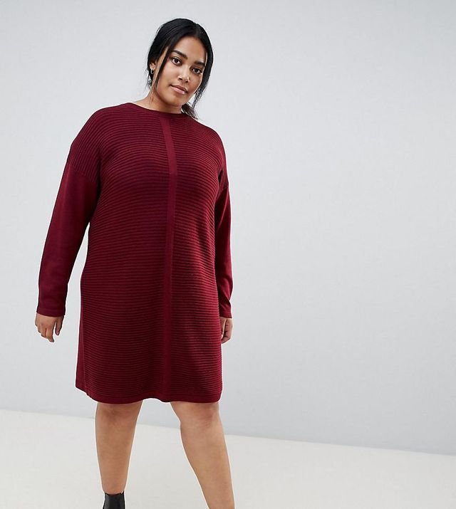 ASOS DESIGN Curve eco knitted mini dress in ripple