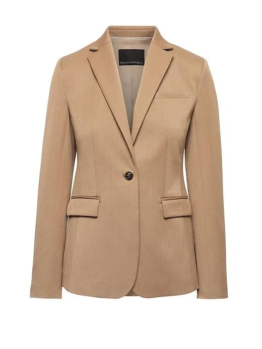 Womens Petite Long And Lean-Fit Machine-Washable Blazer Camel Tan