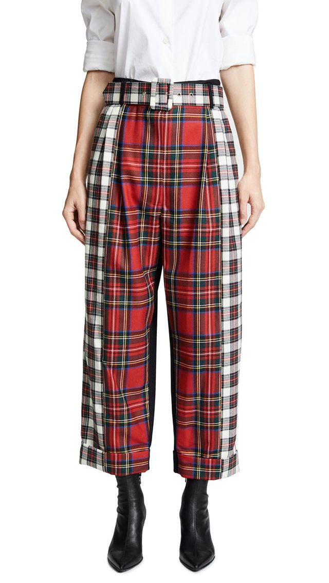 Contrast Belted Trousers