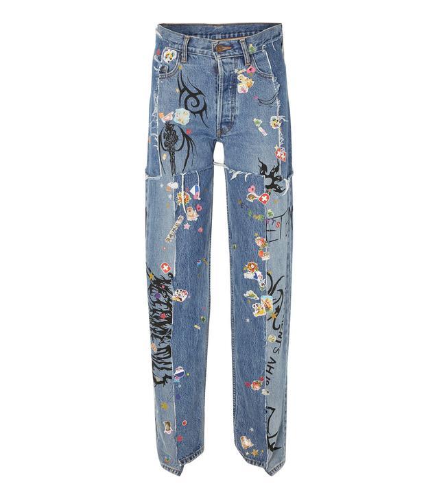 Distressed Embellished Straight-Leg Jeans