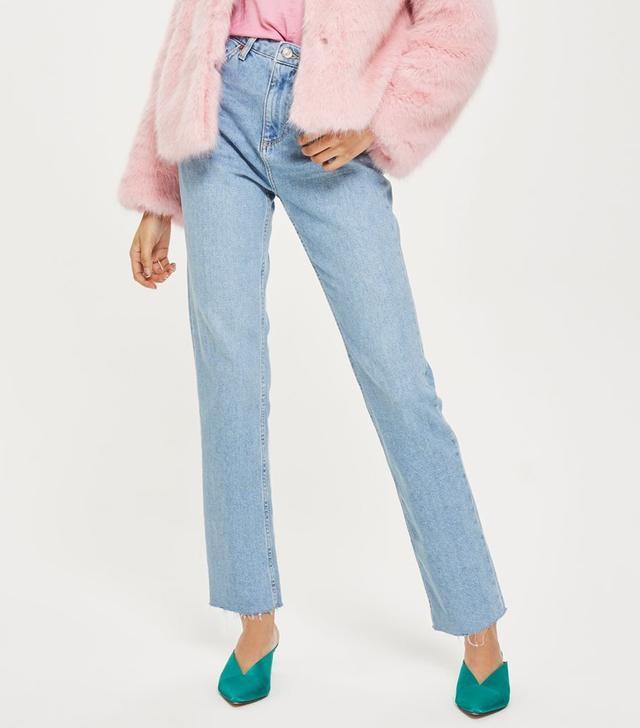 Bleach Raw Hem Straight Leg Jeans