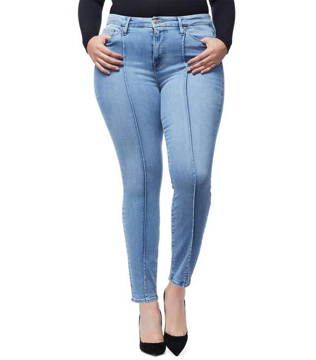 Women's Good American Good Legs Pintuck Ankle Skinny Jeans