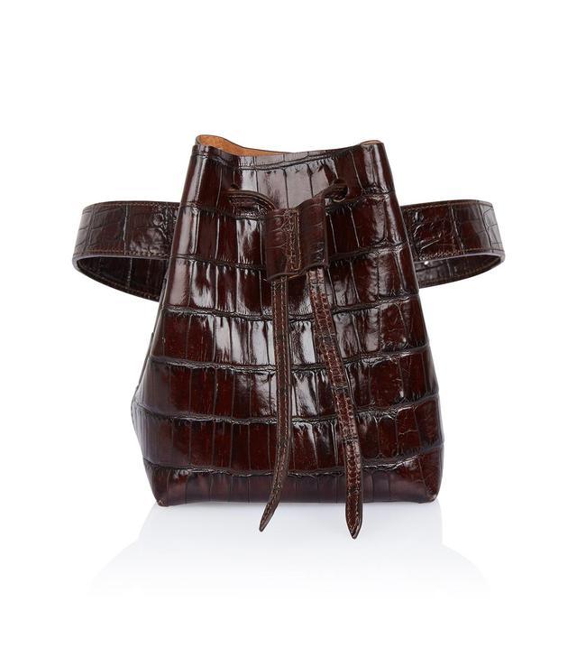 Nanushka Minne Brown Embossed Croc Belt Bag