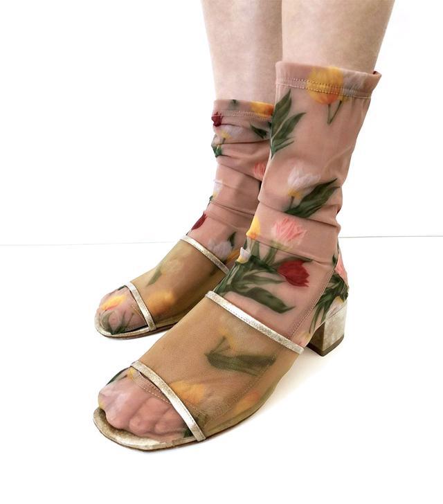 Darner Caramel Tulips Floral Mesh Socks