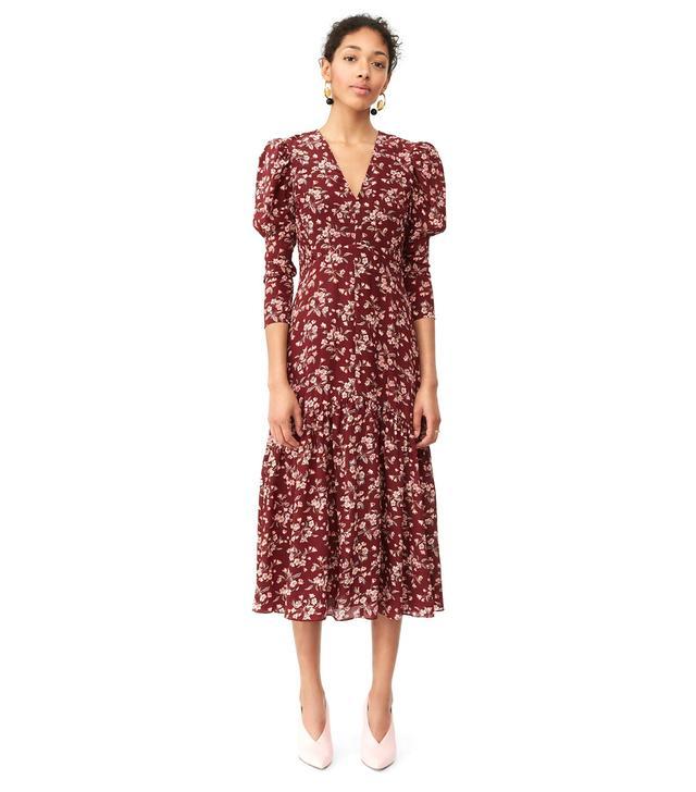 Rebecca Taylor Tilda Floral Silk V-Neck Dress