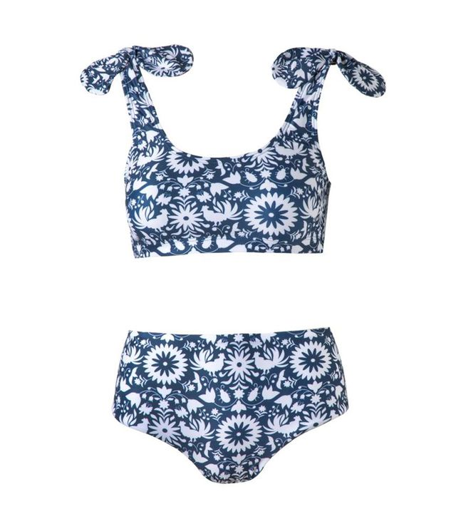 """<p>Verde Limon <a href=""""https://goldenedit.com/collections/october-suitcase/products/cupertino-otomi-print-bikini-top"""" target=""""_blank"""">Cupertino Otomi Print Bikini Top</a> ($108) and <a..."""