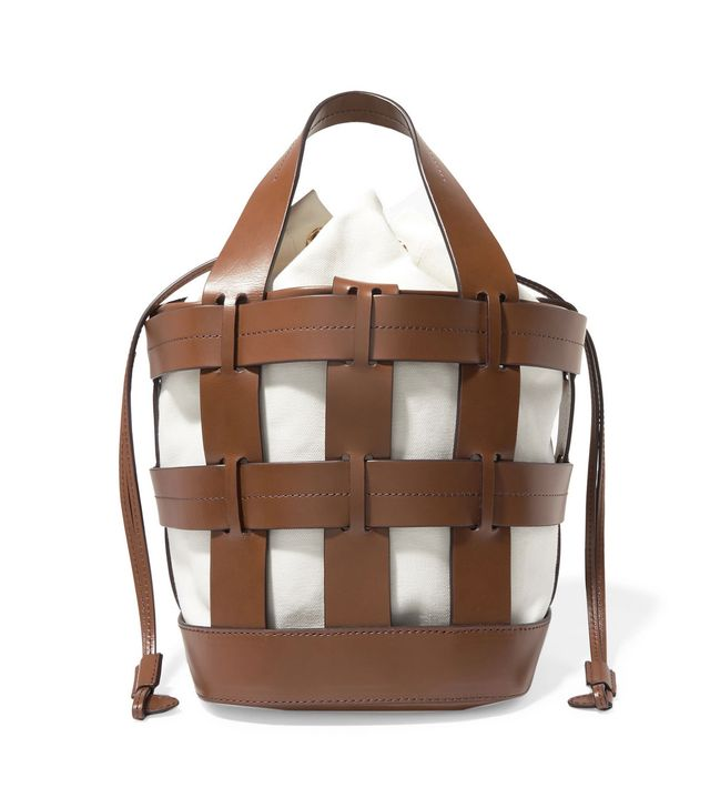 Cooper Caged Leather And Canvas Tote