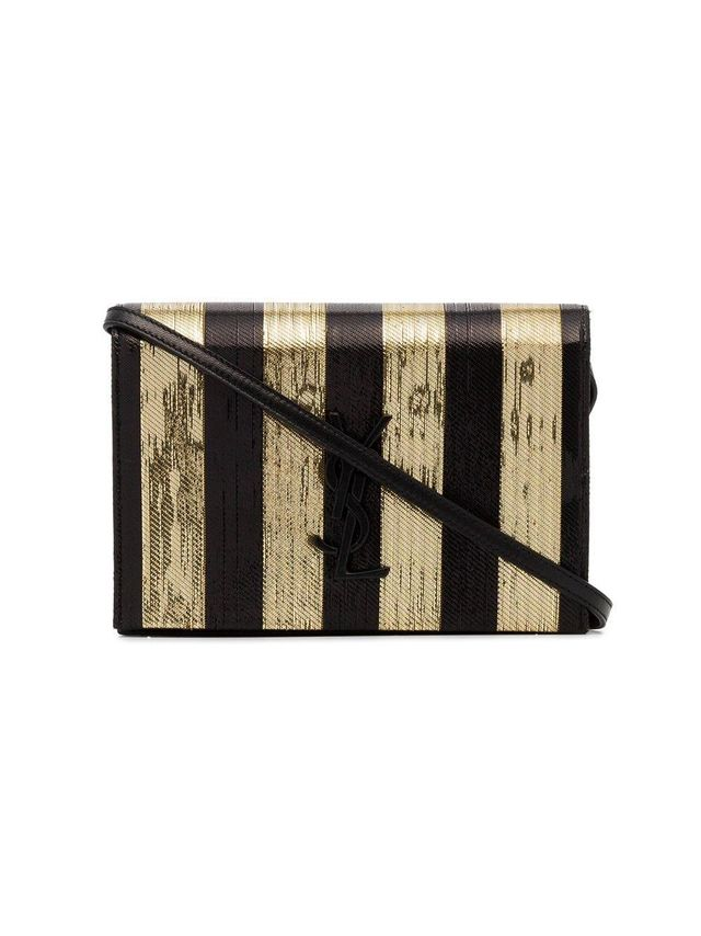 Black and Gold Metallic Kate Woven Leather Crossbody Bag