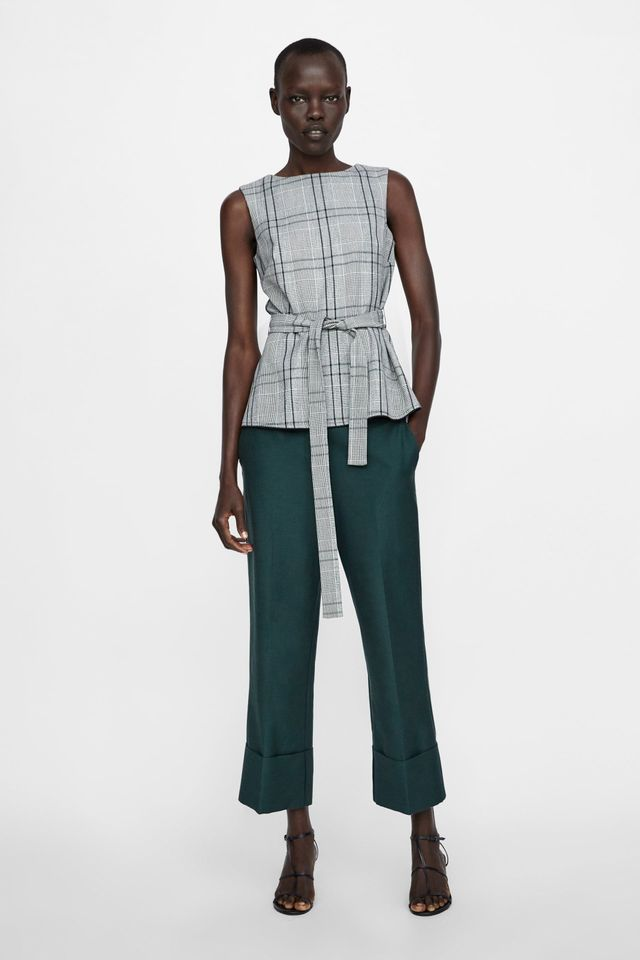 Zara Checked Top With Bow