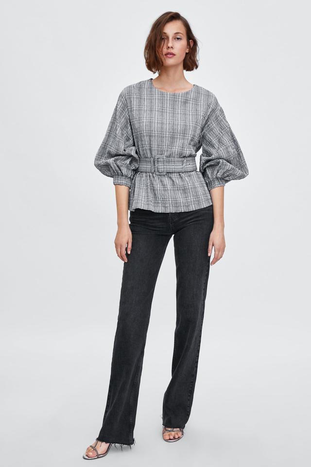 Zara Belted Plaid Top