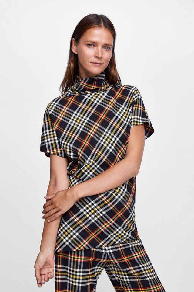Zara Plaid Top With Ruching