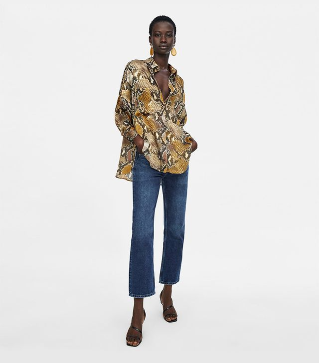 Zara Oversized Snakeprint Shirt